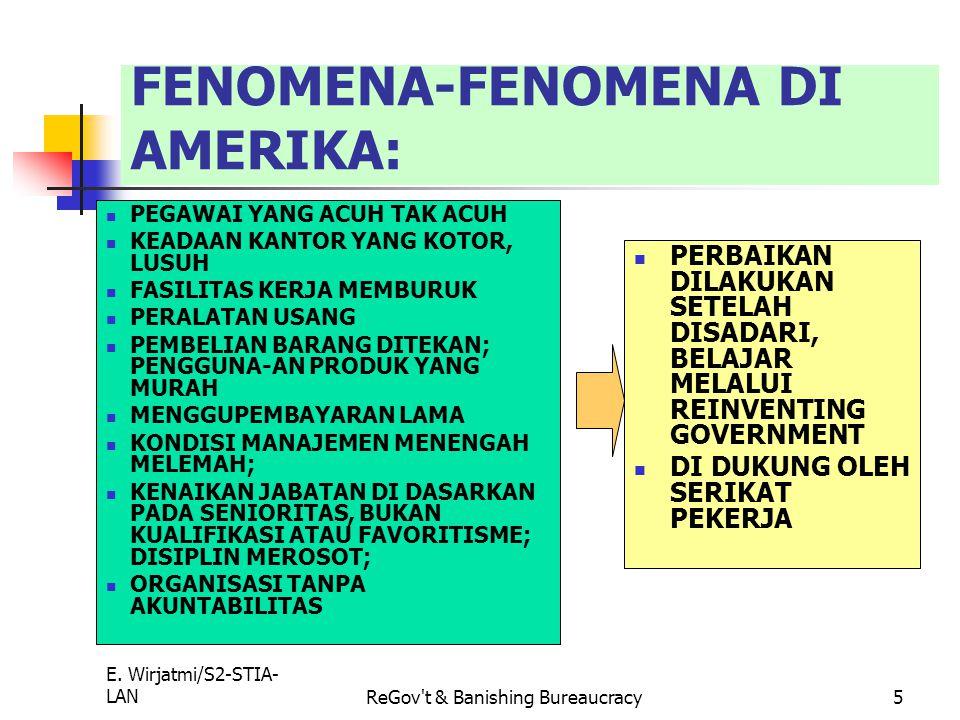 E. Wirjatmi/S2-STIA- LANReGov't & Banishing Bureaucracy4 10 KUNCI BIROKRASI YANG SUKSES (Reinventing Government- Osborne dan Gaebler) 7. Pemerintaha W