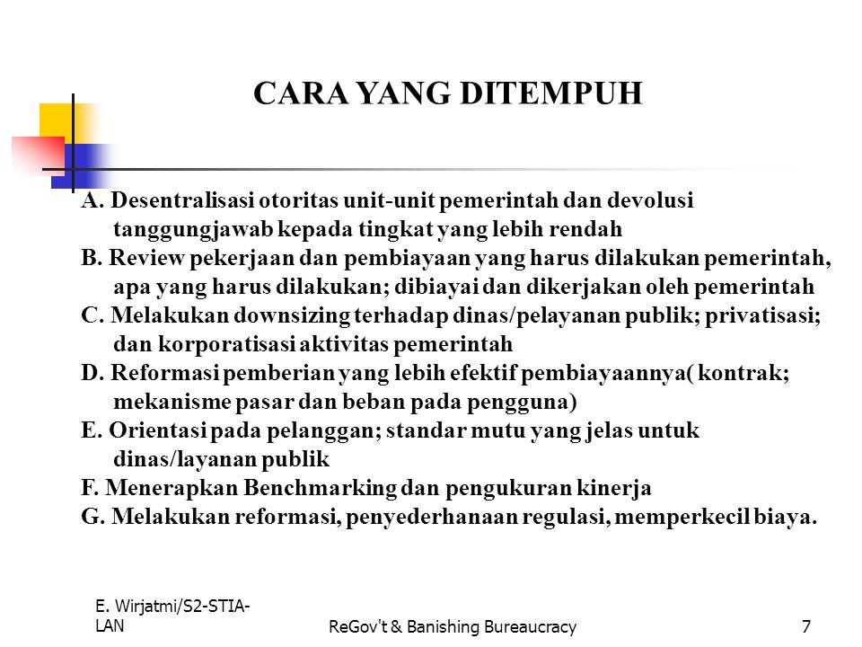 E. Wirjatmi/S2-STIA- LANReGov't & Banishing Bureaucracy6 PERINTIS PELAKU INDIANAPOLIS. WALIKOTA STATE GOLDSMITH : Menciptakan organisasi pemerintah ya