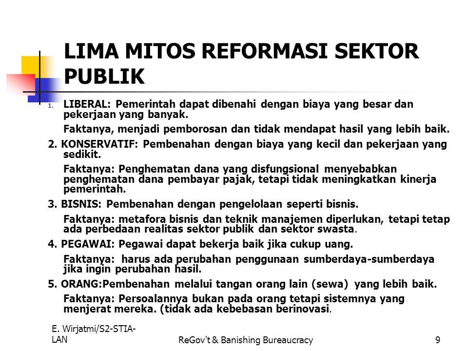 E. Wirjatmi/S2-STIA- LANReGov't & Banishing Bureaucracy8 PERBEDAAN ANTARA REINVENTING GOVERNMENT DAN BANINSHING BUREAUCRACY REINVENTING GOVERNMENT Men