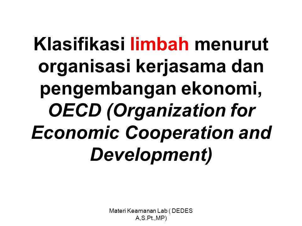 Klasifikasi limbah menurut organisasi kerjasama dan pengembangan ekonomi, OECD (Organization for Economic Cooperation and Development) Materi Keamanan