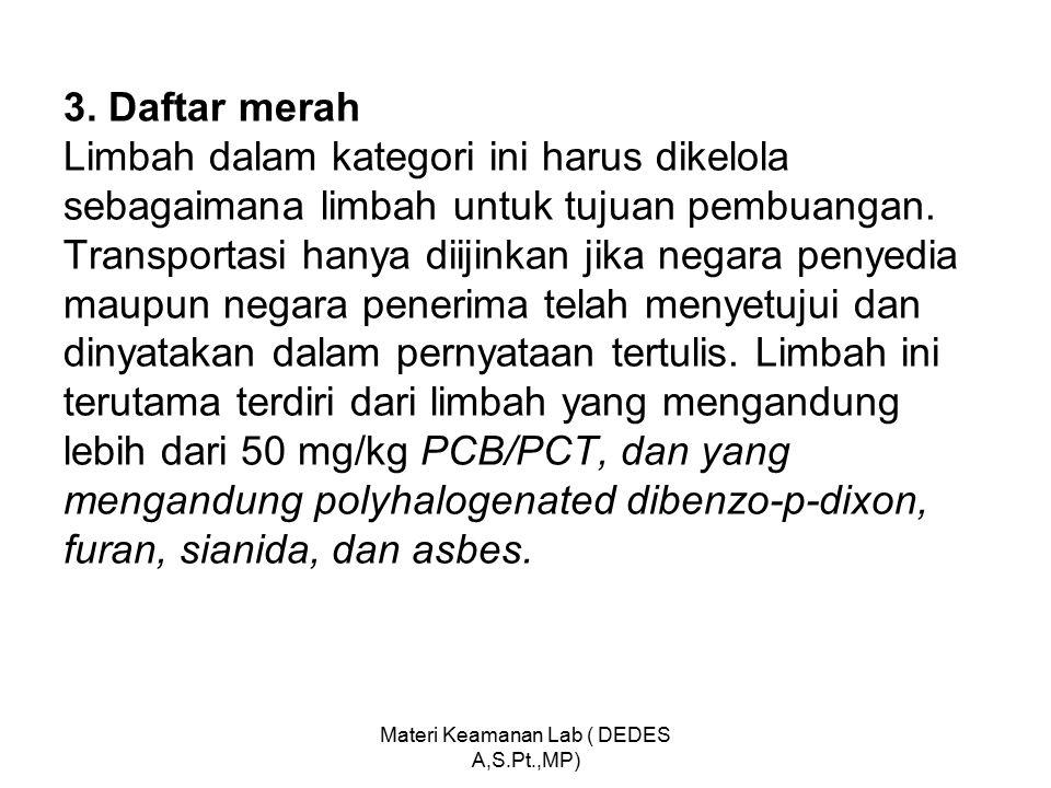 3. Daftar merah Limbah dalam kategori ini harus dikelola sebagaimana limbah untuk tujuan pembuangan. Transportasi hanya diijinkan jika negara penyedia