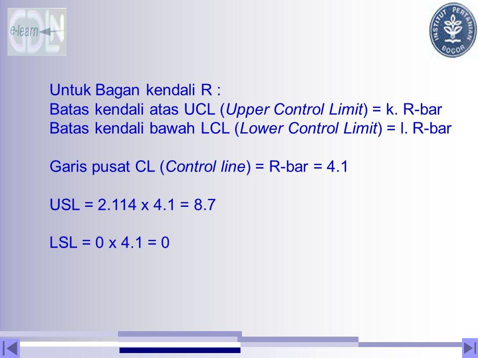 Untuk Bagan kendali R : Batas kendali atas UCL (Upper Control Limit) = k. R-bar Batas kendali bawah LCL (Lower Control Limit) = l. R-bar Garis pusat C