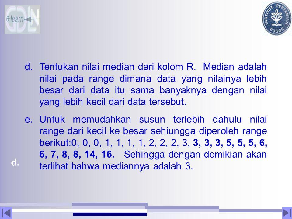 d. d.Tentukan nilai median dari kolom R. Median adalah nilai pada range dimana data yang nilainya lebih besar dari data itu sama banyaknya dengan nila