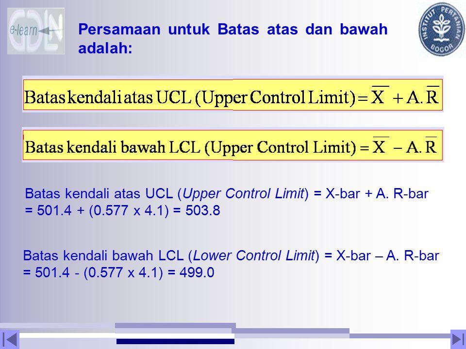 Persamaan untuk Batas atas dan bawah adalah: Batas kendali atas UCL (Upper Control Limit) = X-bar + A. R-bar = 501.4 + (0.577 x 4.1) = 503.8 Batas ken