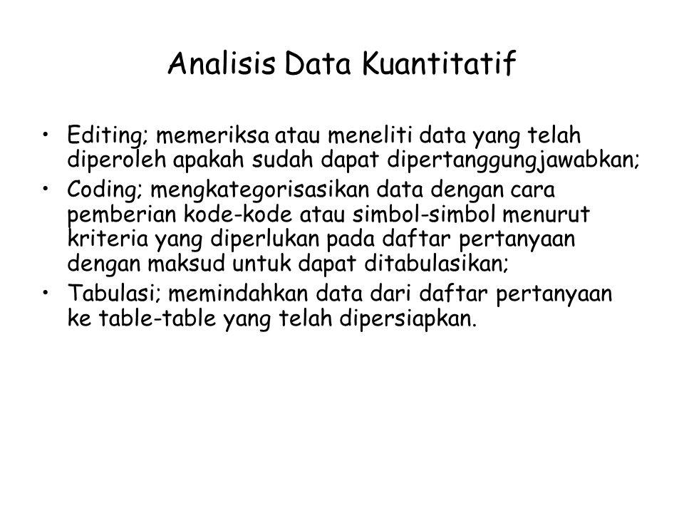 Analisis Data Kuantitatif Editing; memeriksa atau meneliti data yang telah diperoleh apakah sudah dapat dipertanggungjawabkan; Coding; mengkategorisas