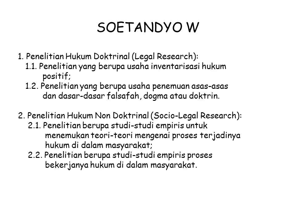 SOETANDYO W 1. Penelitian Hukum Doktrinal (Legal Research): 1.1. Penelitian yang berupa usaha inventarisasi hukum positif; 1.2. Penelitian yang berupa