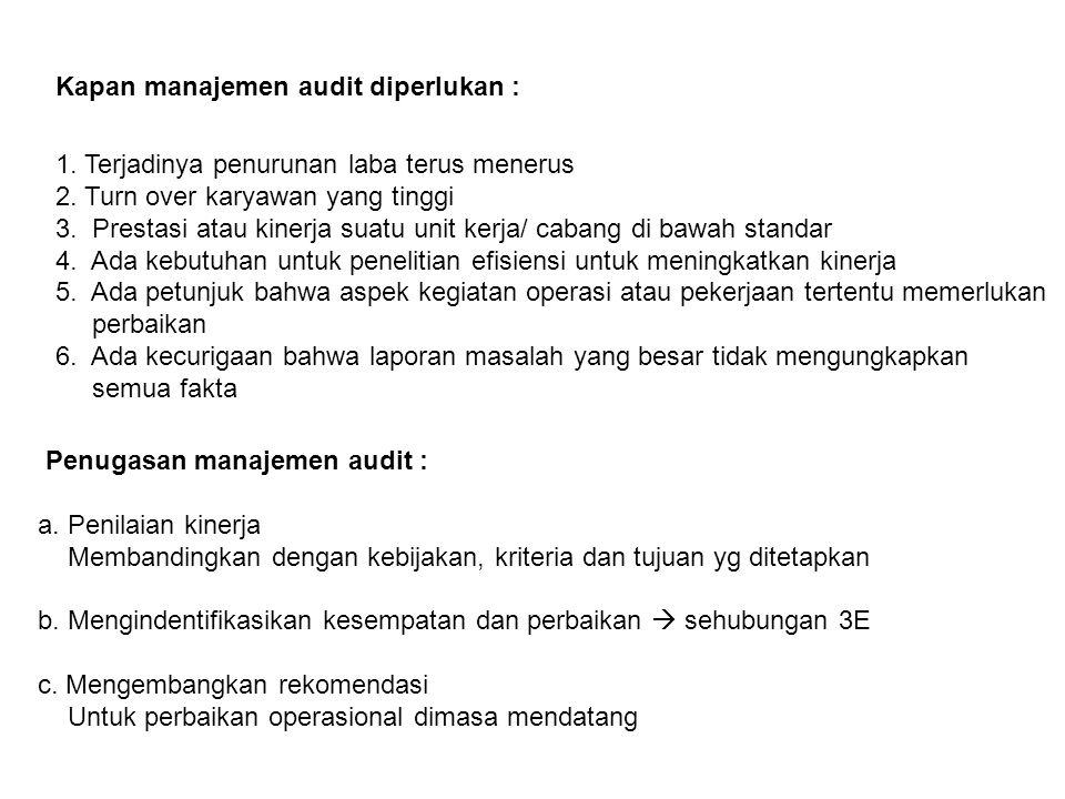 Kapan manajemen audit diperlukan : 1. Terjadinya penurunan laba terus menerus 2. Turn over karyawan yang tinggi 3. Prestasi atau kinerja suatu unit ke