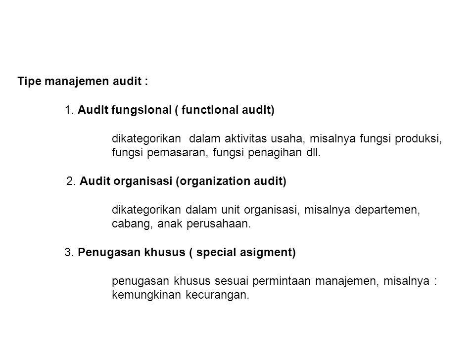 Tipe manajemen audit : 1. Audit fungsional ( functional audit) dikategorikan dalam aktivitas usaha, misalnya fungsi produksi, fungsi pemasaran, fungsi