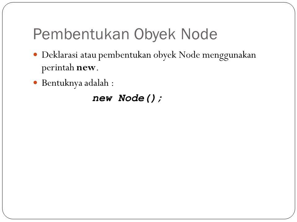 """""""Single"""" Representation Penjelasan: Pembuatan class bernama Node yang berisi 2 field/variabel, yaitu data bertipe Object dan pointer yang bertipe clas"""