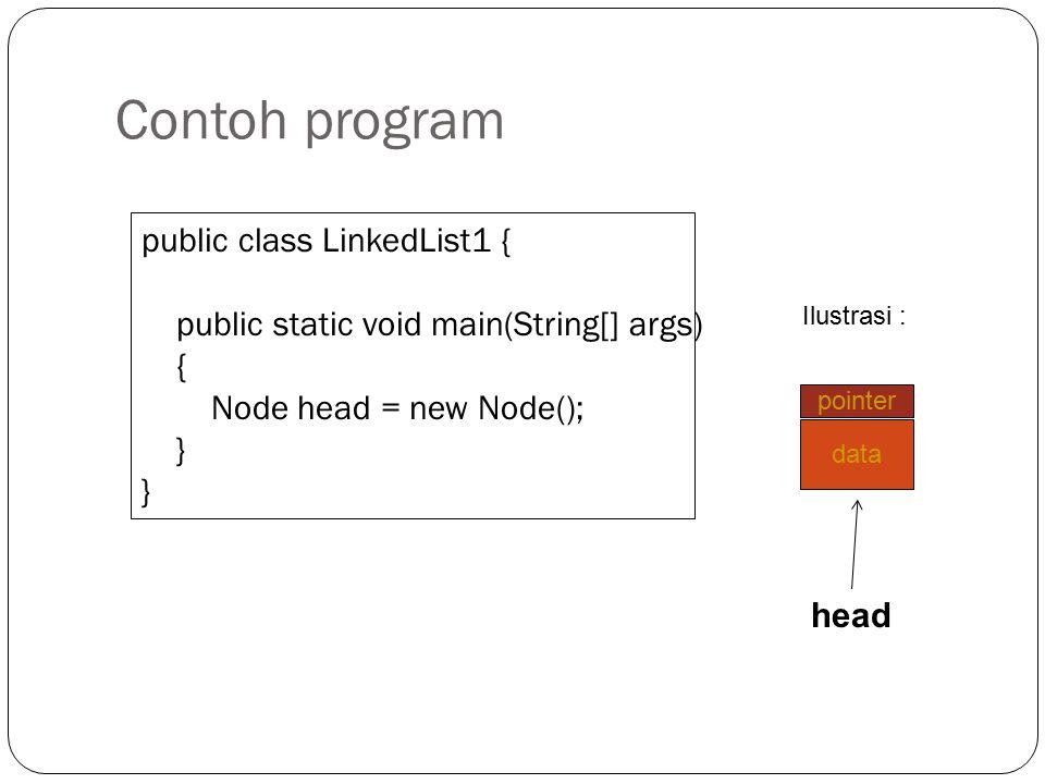 Pembentukan Obyek Node Deklarasi atau pembentukan obyek Node menggunakan perintah new. Bentuknya adalah : new Node();