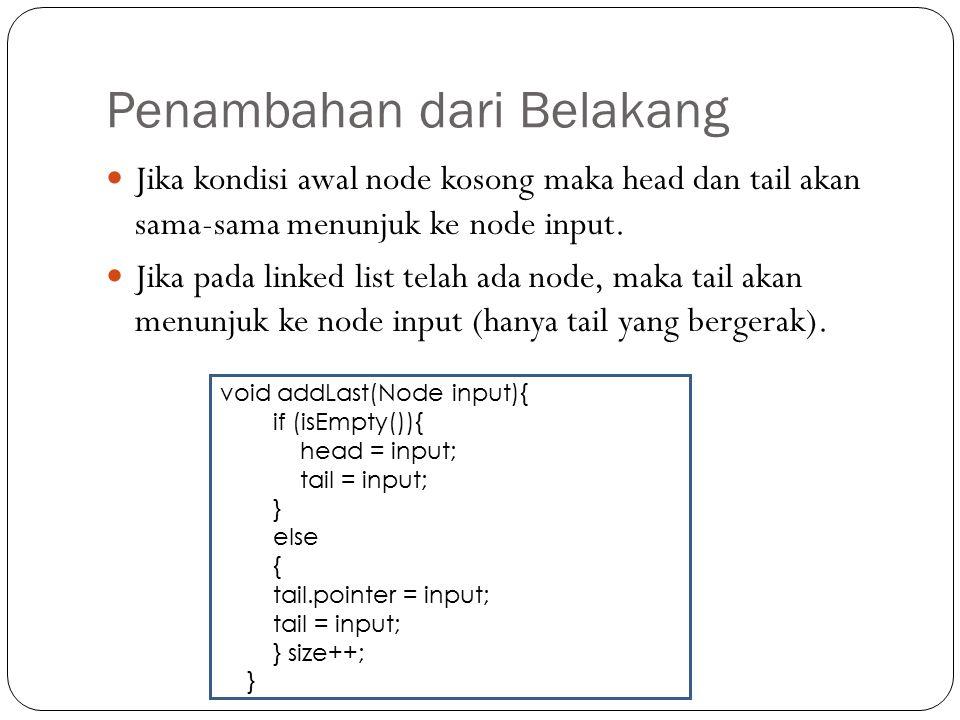 Ilustrasi : addFirst(x) Menambahkan X pada lokasi paling depan. a b c d head x b c d a x Kondisi awal pada linked list : Setelah penambahan node x did