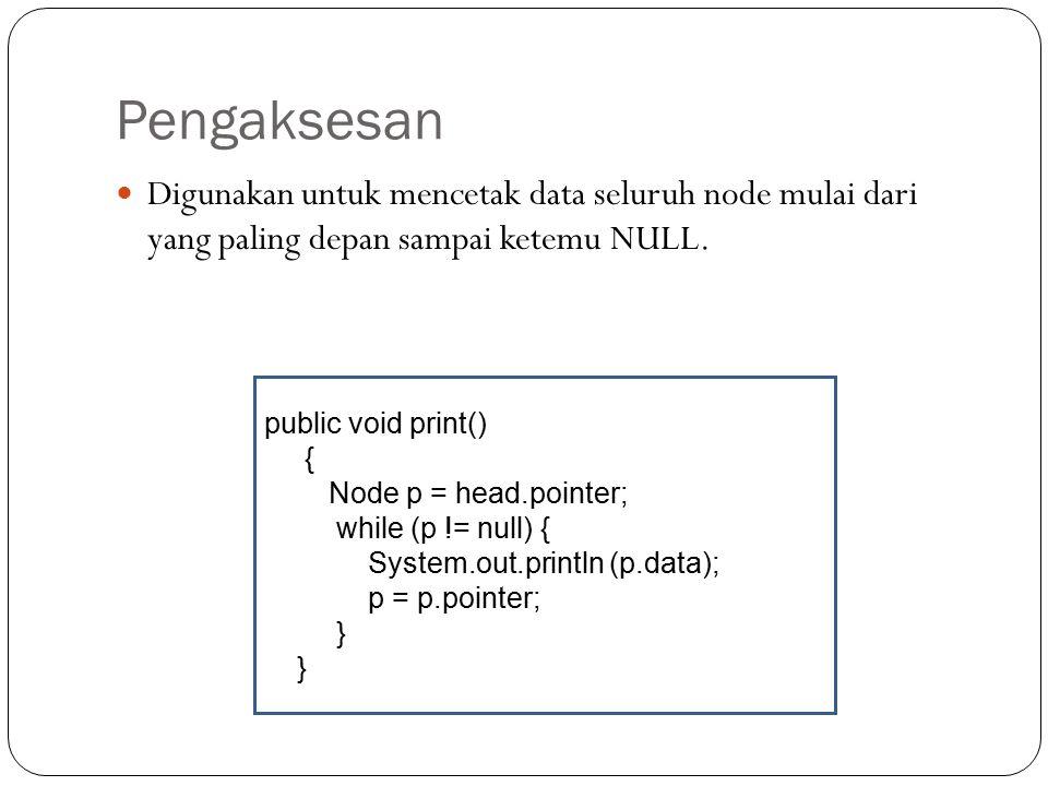 Langkah-langkah menghapus elemen Tidak ada elemen lain yang menyimpan alamat node x. Node x tidak bisa diakses lagi. Java Garbage Collector akan membe