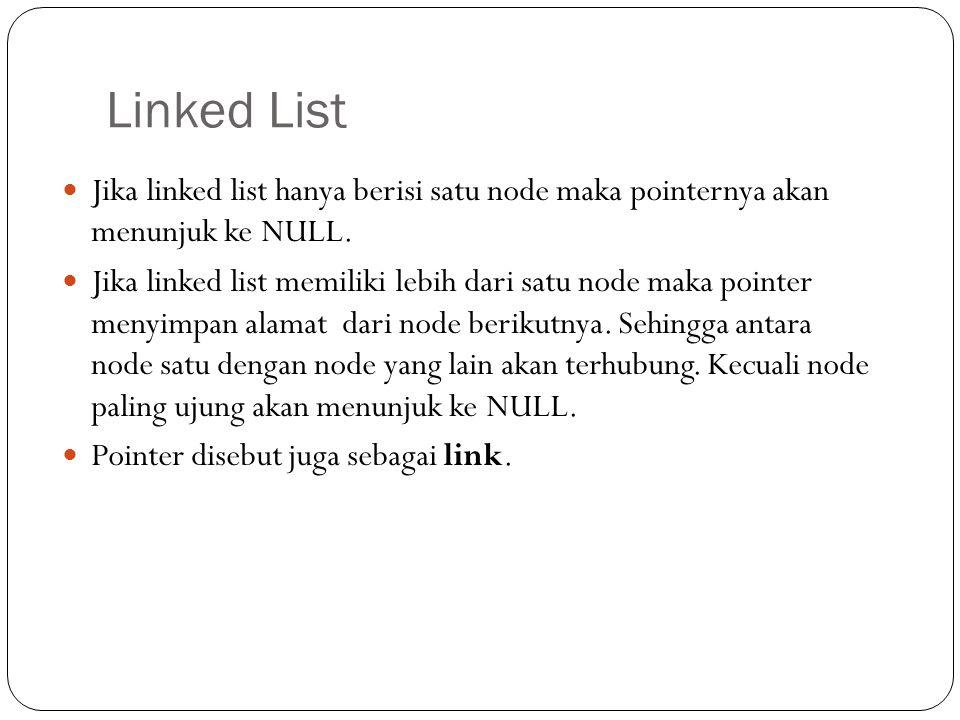 Definisi Linked list : struktur data yang dibangun dari satu atau lebih node yang menempati alokasi memori secara dinamis. Node : tempat penyimpanan d