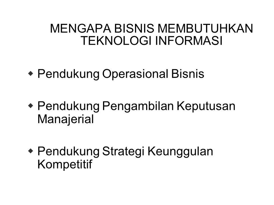 MENGAPA BISNIS MEMBUTUHKAN TEKNOLOGI INFORMASI  Pendukung Operasional Bisnis  Pendukung Pengambilan Keputusan Manajerial  Pendukung Strategi Keunggulan Kompetitif