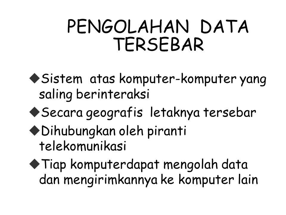 PENGOLAHAN DATA TERSEBAR  Sistem atas komputer-komputer yang saling berinteraksi  Secara geografis letaknya tersebar  Dihubungkan oleh piranti telekomunikasi  Tiap komputerdapat mengolah data dan mengirimkannya ke komputer lain