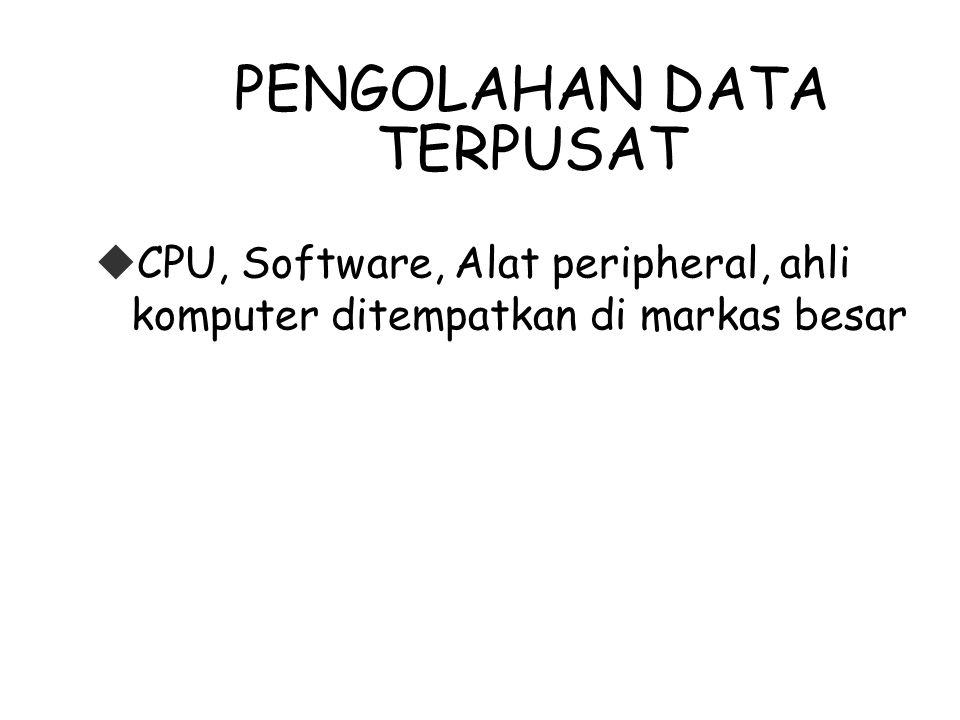 PENGOLAHAN DATA TERPUSAT  CPU, Software, Alat peripheral, ahli komputer ditempatkan di markas besar