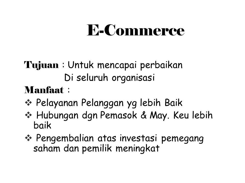 E-Commerce Tujuan : Untuk mencapai perbaikan Di seluruh organisasi Manfaat :  Pelayanan Pelanggan yg lebih Baik  Hubungan dgn Pemasok & May.
