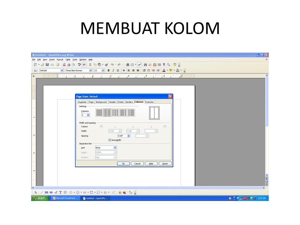MEMBUAT KOLOM