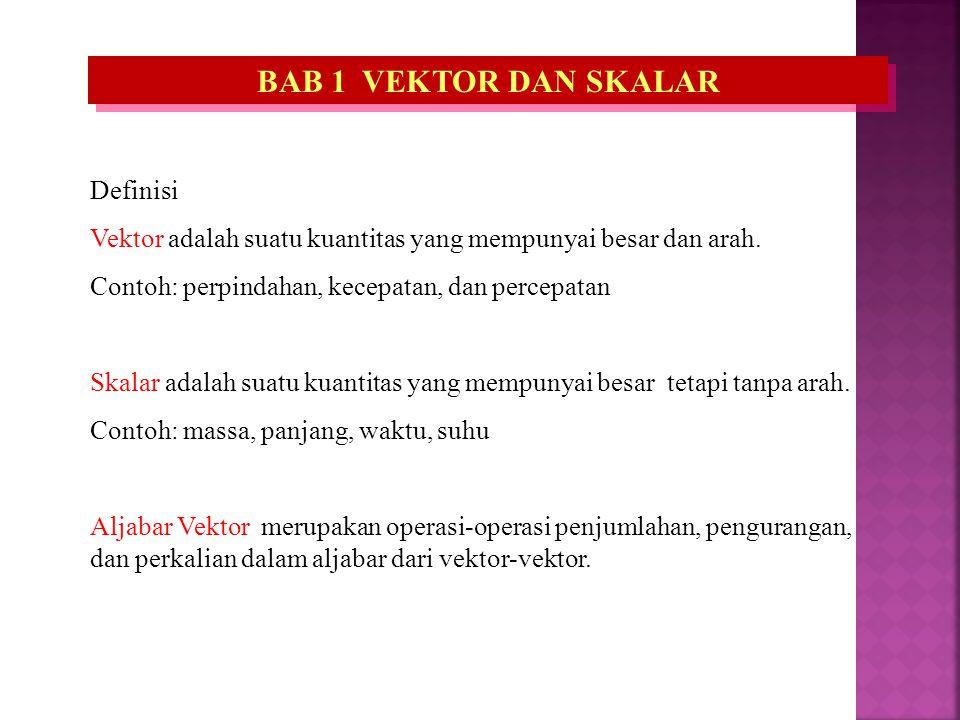 BAB 1 VEKTOR DAN SKALAR Definisi Vektor adalah suatu kuantitas yang mempunyai besar dan arah. Contoh: perpindahan, kecepatan, dan percepatan Skalar ad