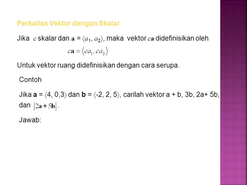 Perkalian Vektor dengan Skalar Jika c skalar dan a =  a 1, a 2 , maka vektor ca didefinisikan oleh Untuk vektor ruang didefinisikan dengan cara seru