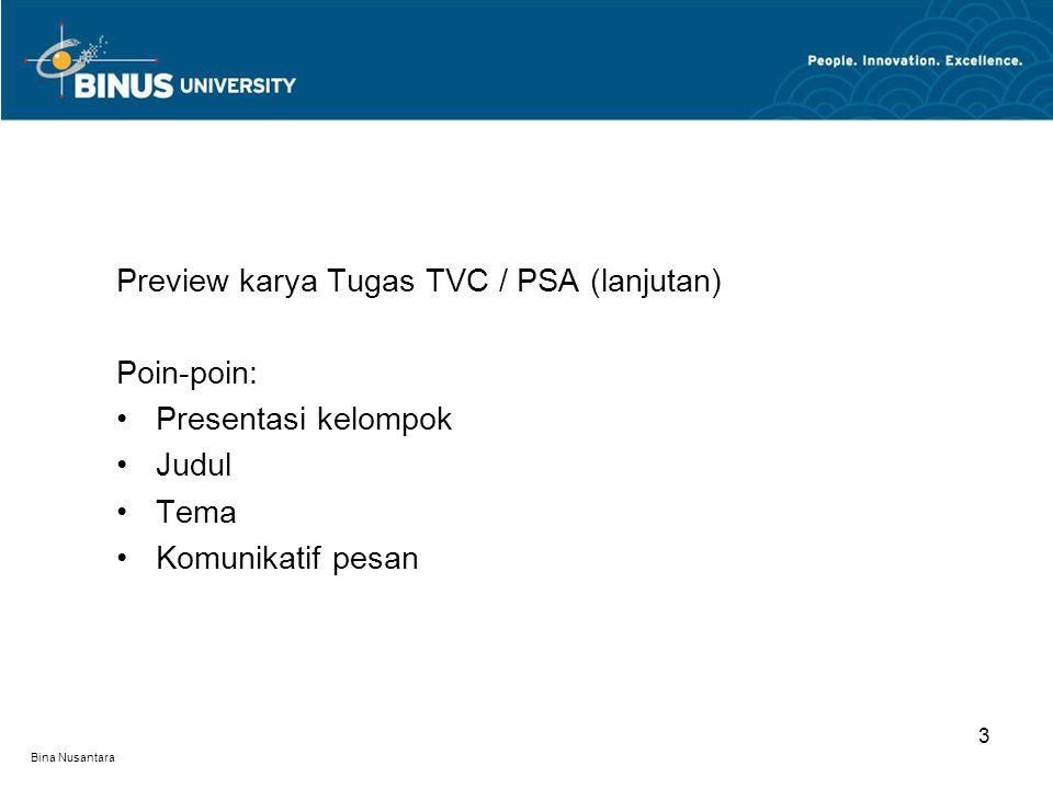 Bina Nusantara Kritik audio - dubbing - musik ilustrasi - sound fx - kualitas audio keseluruhan