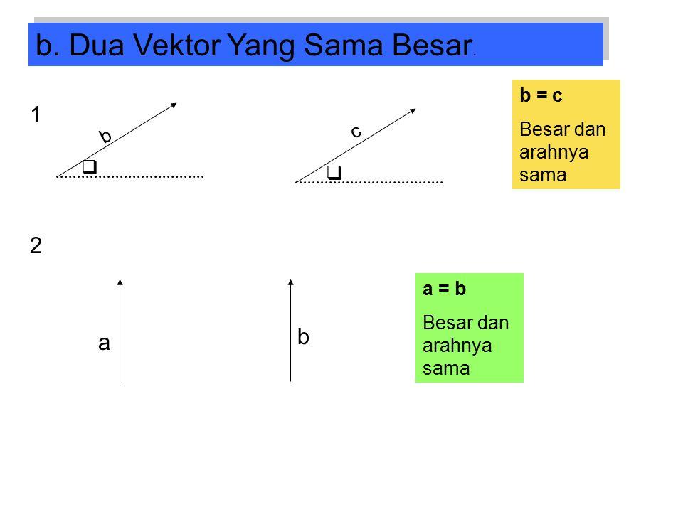 b. Dua Vektor Yang Sama Besar.   b c b = c Besar dan arahnya sama 1 2 a b a = b Besar dan arahnya sama