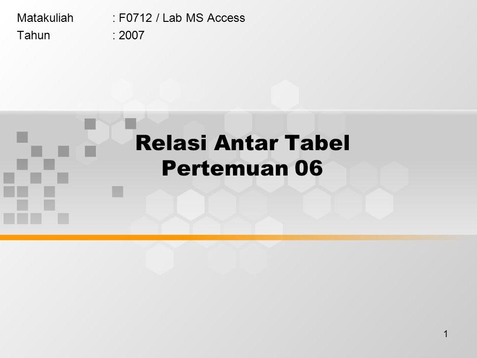 1 Relasi Antar Tabel Pertemuan 06 Matakuliah: F0712 / Lab MS Access Tahun: 2007