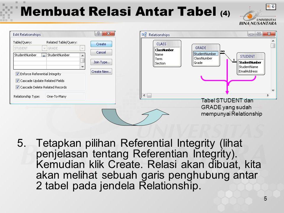 5 Membuat Relasi Antar Tabel (4) 5.Tetapkan pilihan Referential Integrity (lihat penjelasan tentang Referentian Integrity). Kemudian klik Create. Rela