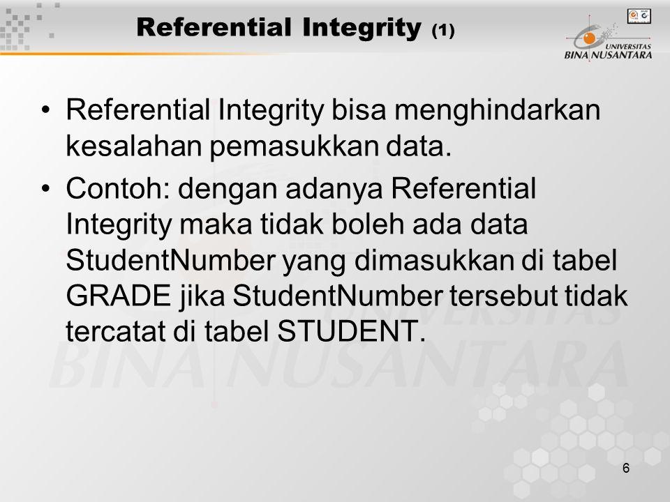 6 Referential Integrity (1) Referential Integrity bisa menghindarkan kesalahan pemasukkan data. Contoh: dengan adanya Referential Integrity maka tidak