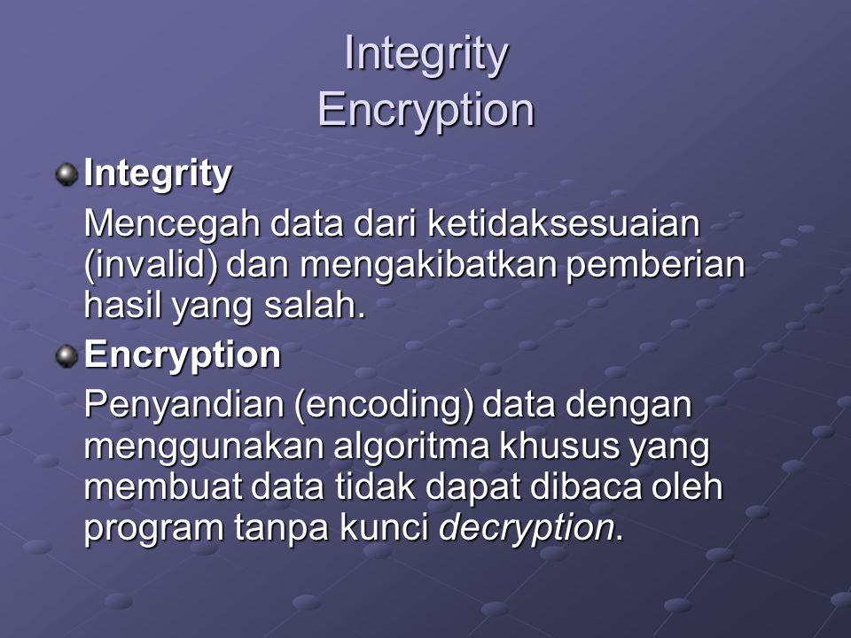 Integrity Encryption Integrity Mencegah data dari ketidaksesuaian (invalid) dan mengakibatkan pemberian hasil yang salah. Encryption Penyandian (encod