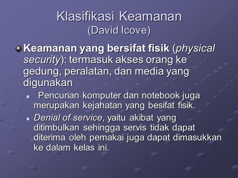 Klasifikasi Keamanan (David Icove) Keamanan yang bersifat fisik (physical security): termasuk akses orang ke gedung, peralatan, dan media yang digunak