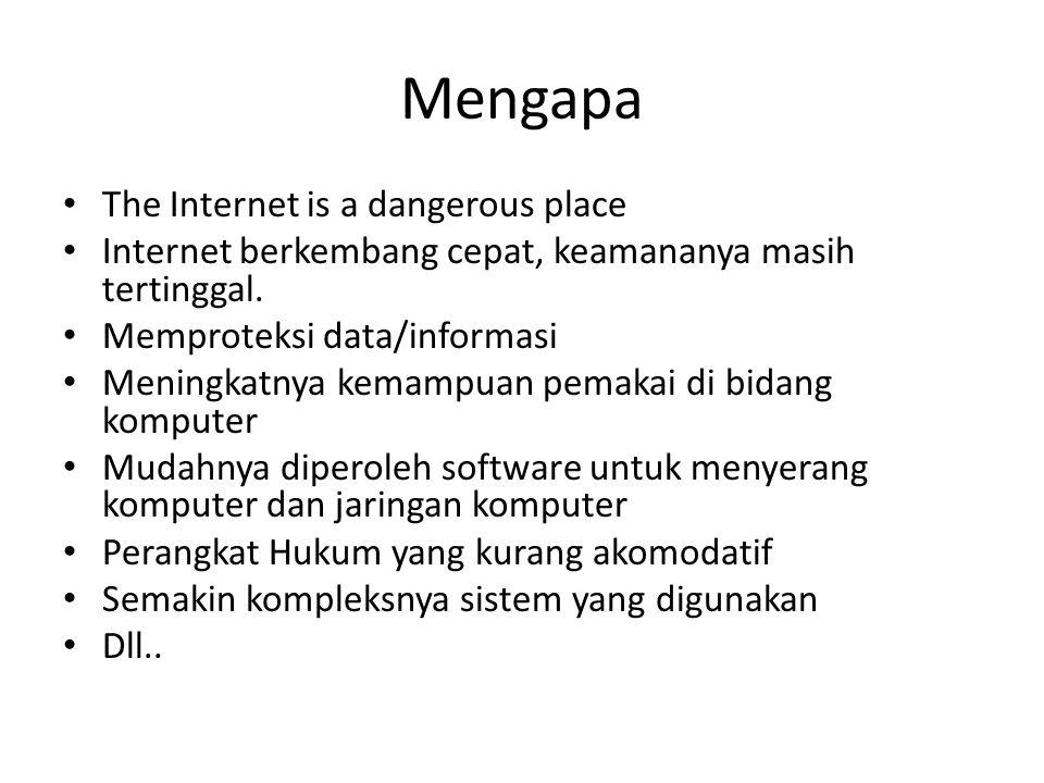 Mengapa The Internet is a dangerous place Internet berkembang cepat, keamananya masih tertinggal. Memproteksi data/informasi Meningkatnya kemampuan pe