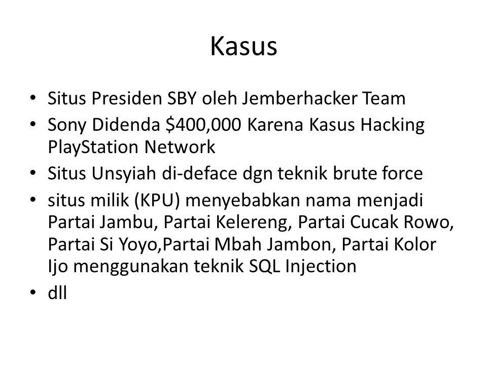 Kasus Situs Presiden SBY oleh Jemberhacker Team Sony Didenda $400,000 Karena Kasus Hacking PlayStation Network Situs Unsyiah di-deface dgn teknik brut