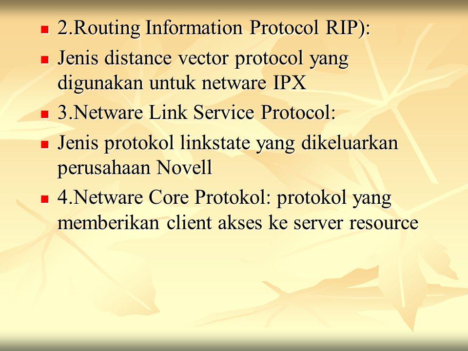 2.Routing Information Protocol RIP): 2.Routing Information Protocol RIP): Jenis distance vector protocol yang digunakan untuk netware IPX Jenis distan