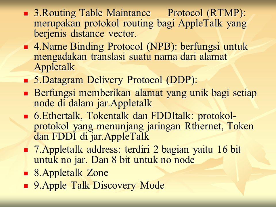 3.Routing Table Maintance Protocol (RTMP): merupakan protokol routing bagi AppleTalk yang berjenis distance vector. 3.Routing Table Maintance Protocol