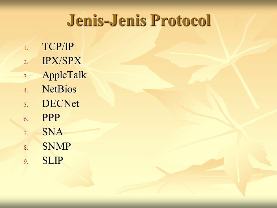 TCP/IP  Definisi: merupakan protocol standar pada jaringan internet yang tidak tergantung pada jenis komputer yang digunakan.