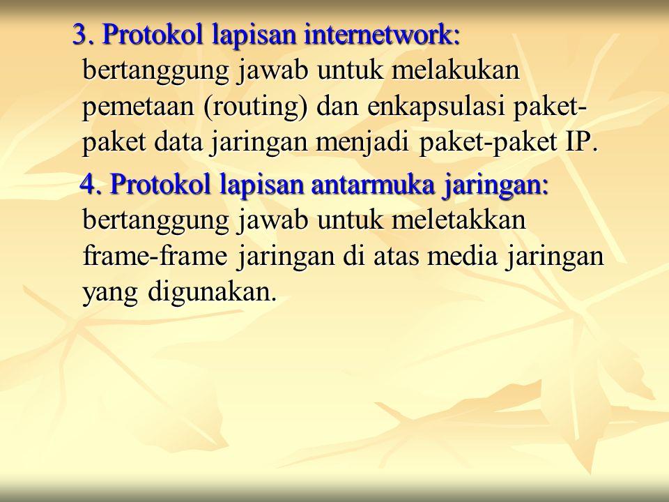 3. Protokol lapisan internetwork: bertanggung jawab untuk melakukan pemetaan (routing) dan enkapsulasi paket- paket data jaringan menjadi paket-paket