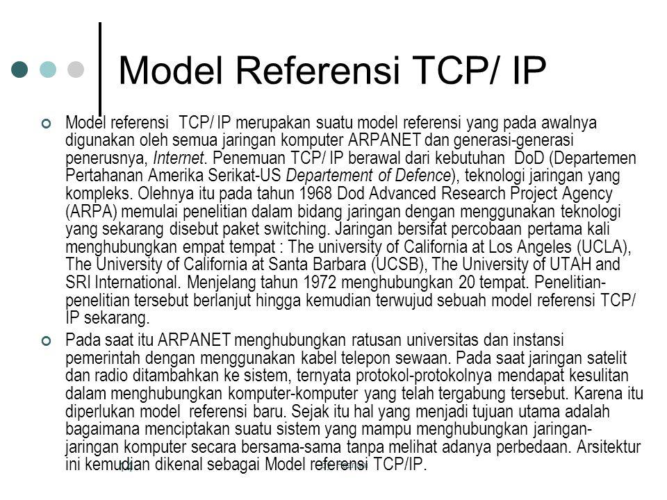 by. Hazriani 14 Model Referensi TCP/ IP Model referensi TCP/ IP merupakan suatu model referensi yang pada awalnya digunakan oleh semua jaringan komput