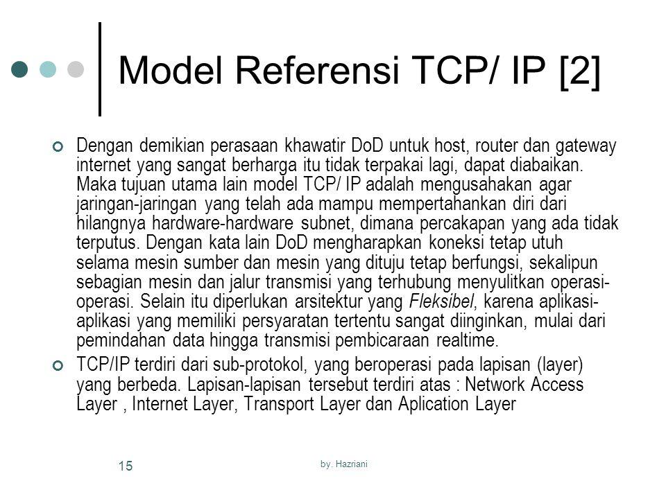 by. Hazriani 15 Model Referensi TCP/ IP [2] Dengan demikian perasaan khawatir DoD untuk host, router dan gateway internet yang sangat berharga itu tid