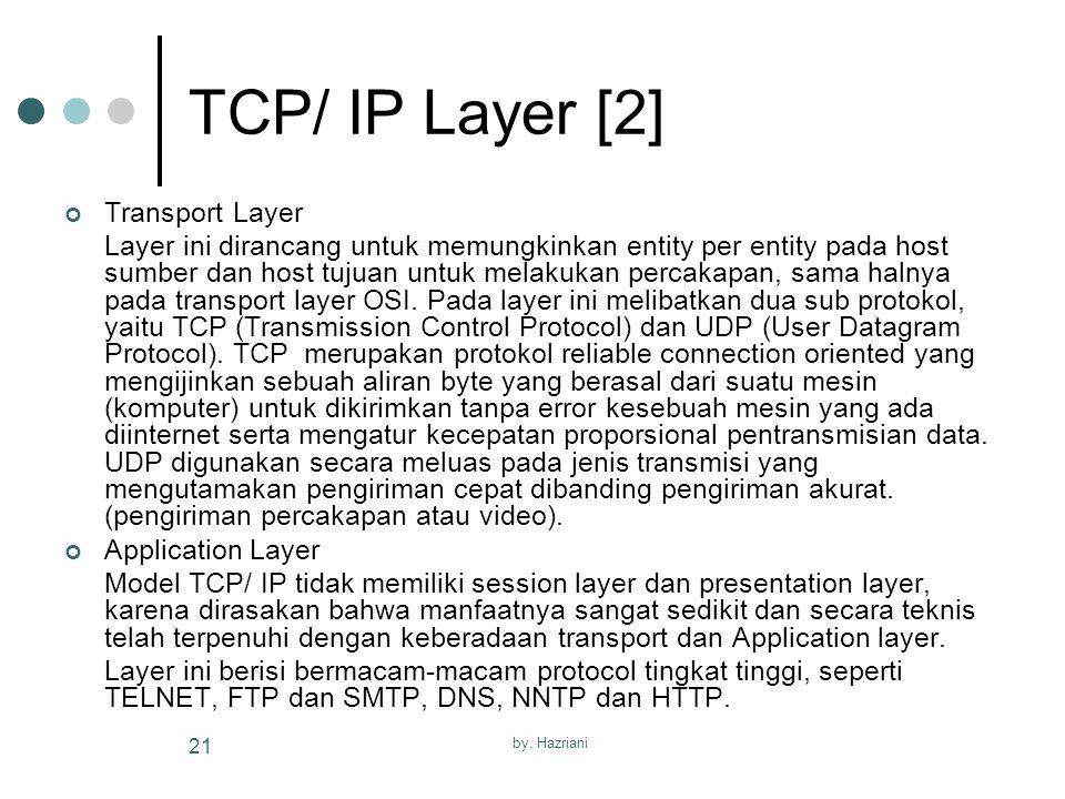 by. Hazriani 21 TCP/ IP Layer [2] Transport Layer Layer ini dirancang untuk memungkinkan entity per entity pada host sumber dan host tujuan untuk mela