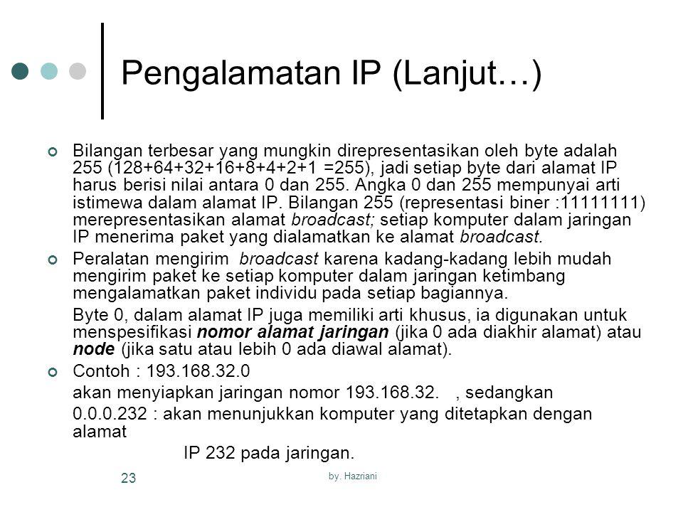 by. Hazriani 23 Pengalamatan IP (Lanjut…) Bilangan terbesar yang mungkin direpresentasikan oleh byte adalah 255 (128+64+32+16+8+4+2+1 =255), jadi seti