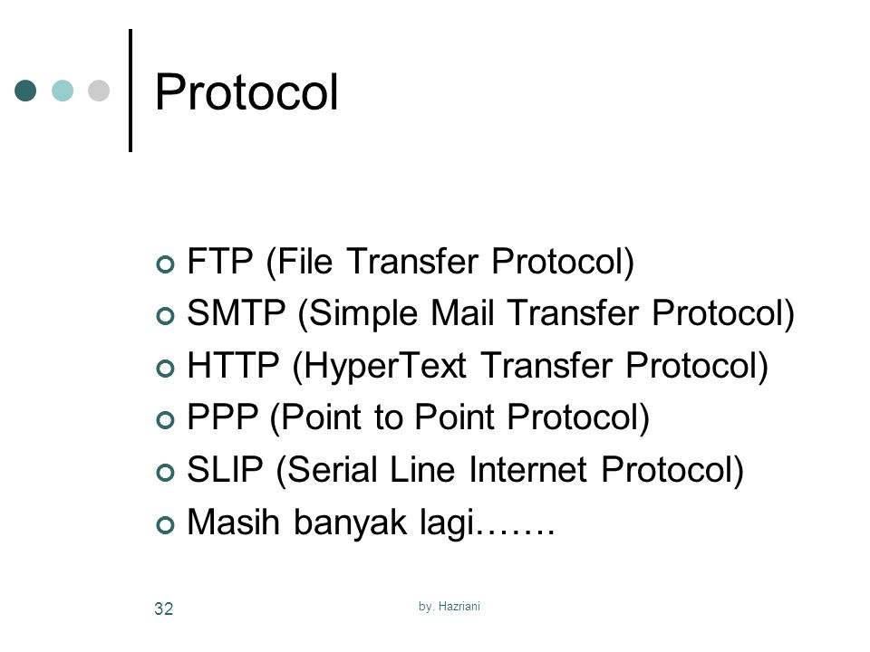 by. Hazriani 32 Protocol FTP (File Transfer Protocol) SMTP (Simple Mail Transfer Protocol) HTTP (HyperText Transfer Protocol) PPP (Point to Point Prot