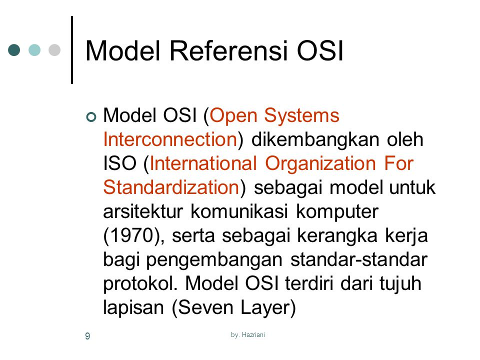 by. Hazriani 9 Model Referensi OSI Model OSI (Open Systems Interconnection) dikembangkan oleh ISO (International Organization For Standardization) seb