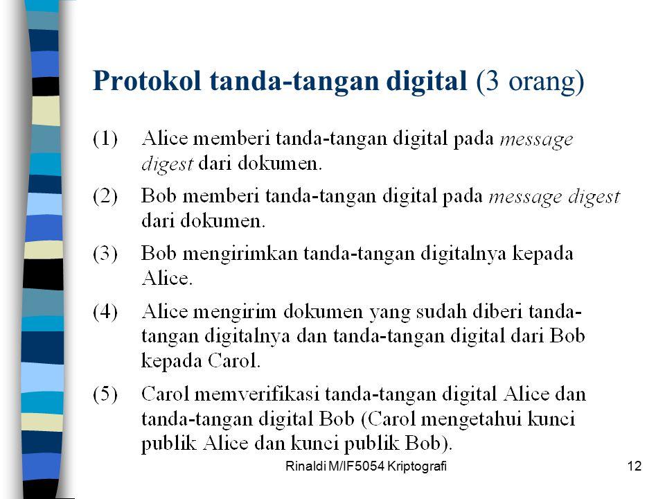 Rinaldi M/IF5054 Kriptografi12 Protokol tanda-tangan digital (3 orang)