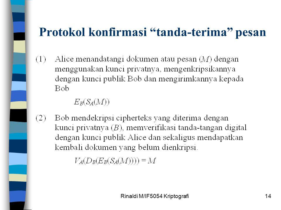 """Rinaldi M/IF5054 Kriptografi14 Protokol konfirmasi """"tanda-terima"""" pesan"""