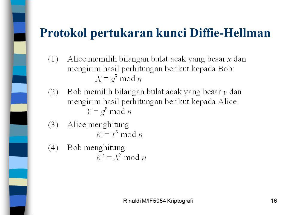 Rinaldi M/IF5054 Kriptografi16 Protokol pertukaran kunci Diffie-Hellman