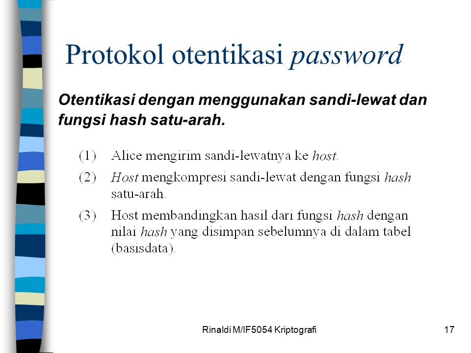 Rinaldi M/IF5054 Kriptografi17 Protokol otentikasi password Otentikasi dengan menggunakan sandi-lewat dan fungsi hash satu-arah.