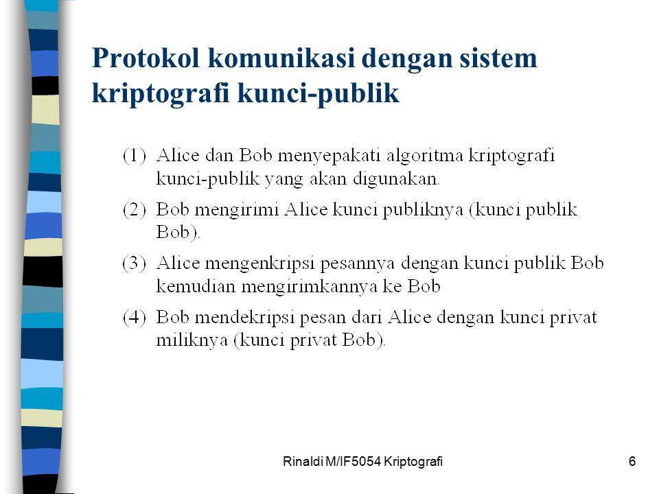 Rinaldi M/IF5054 Kriptografi6 Protokol komunikasi dengan sistem kriptografi kunci-publik