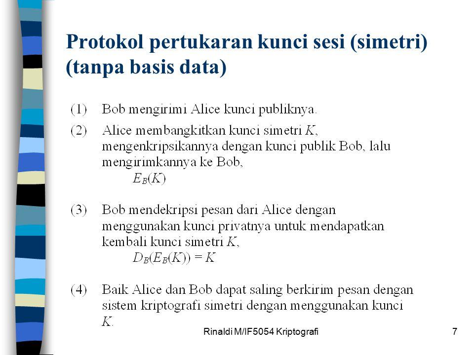 Rinaldi M/IF5054 Kriptografi7 Protokol pertukaran kunci sesi (simetri) (tanpa basis data)