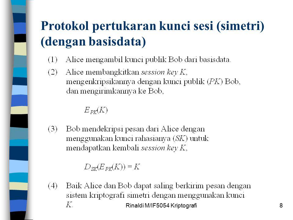 Rinaldi M/IF5054 Kriptografi8 Protokol pertukaran kunci sesi (simetri) (dengan basisdata)